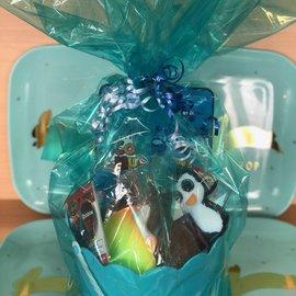Filled Blue Easter Plastic Basket- Great For Ages 6 & Under