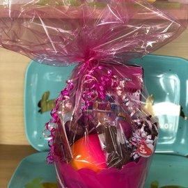 Filled Pink Easter Plastic Basket- Great For Ages 6 & Under