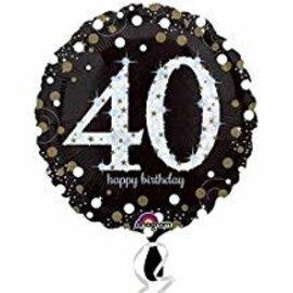 "Sparkling 40th Birthday Balloon, 18"""