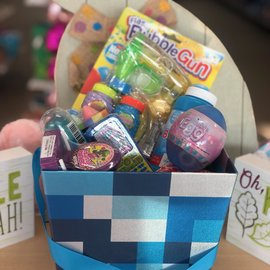 Filled Blue Prismatic Easter Basket