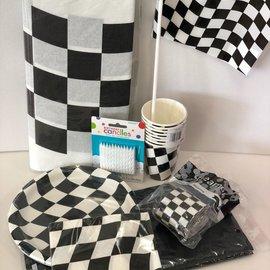 Black & White Check Racing Quarantined Party Kit