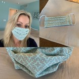 Cloth Face mask with filter pocket (blue)