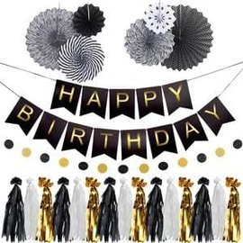 Black & Gold Birthday Garland Kit