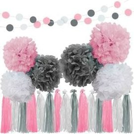 Pink, Gray & White Garland Kit
