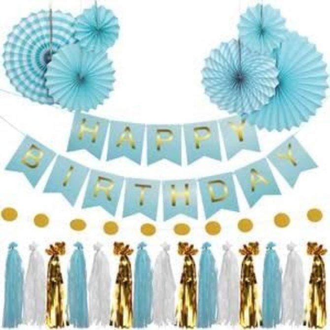 Blue Birthday Garland Kit