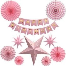 Pink Stars & Fan Birthday Garland Kit