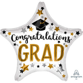 Congratulations Grad Star Shaped Foil Balloon, 19""