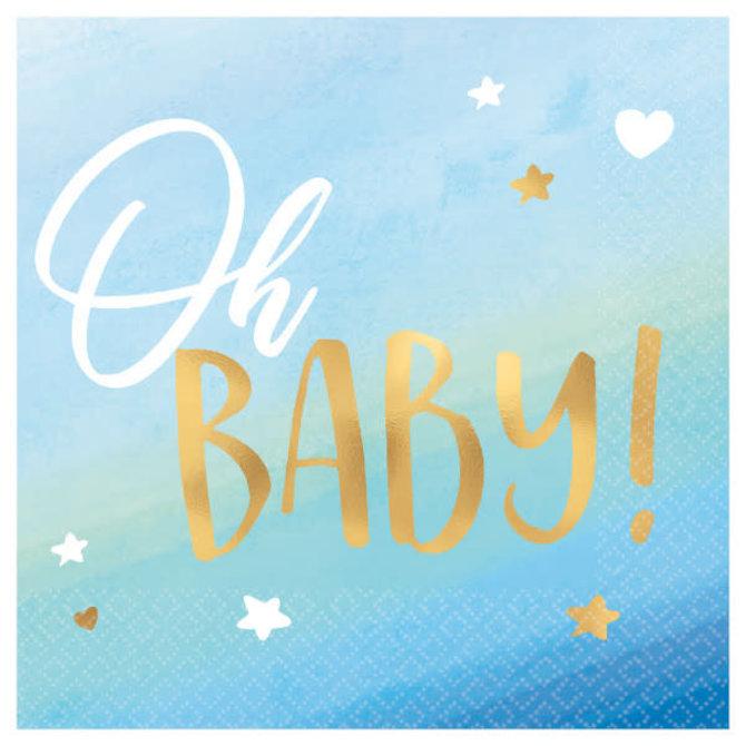 Oh Baby Boy Beverage Napkins - Hot Stamped -16ct