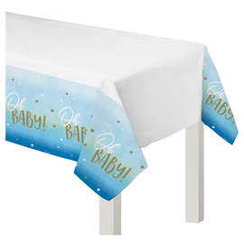"Oh Baby Boy Plastic Table Cover -54"" x 102"""