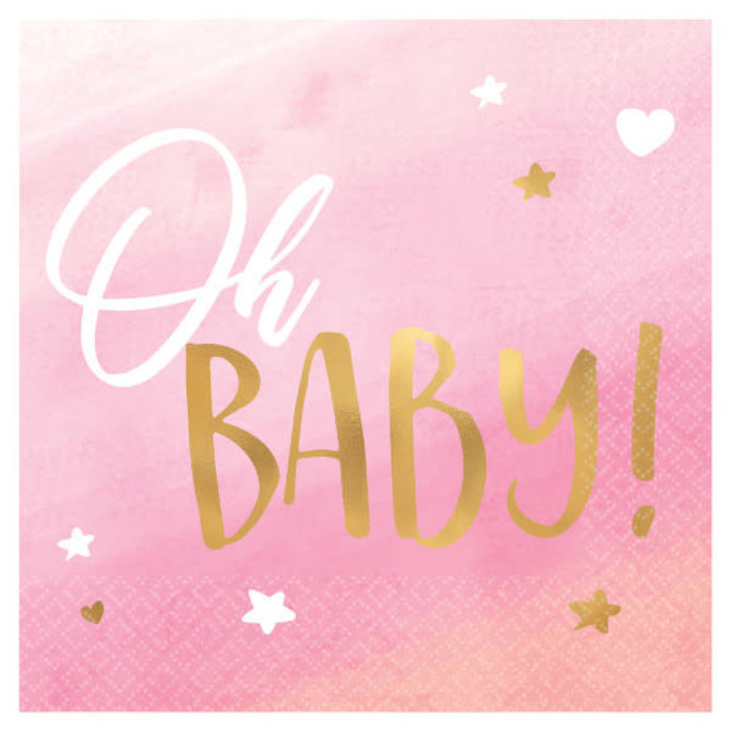 Oh Baby Girl Beverage Napkins - Hot Stamped -16ct
