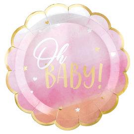 Oh Baby Girl Metallic Shaped Plates, 10 1/2 -8ct