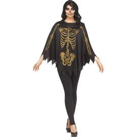 Gold Glitter Skeleton Poncho- Adult