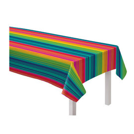 "Serape Stripe Flannel-Backed Vinyl Table Cover, 52"" x 90"""