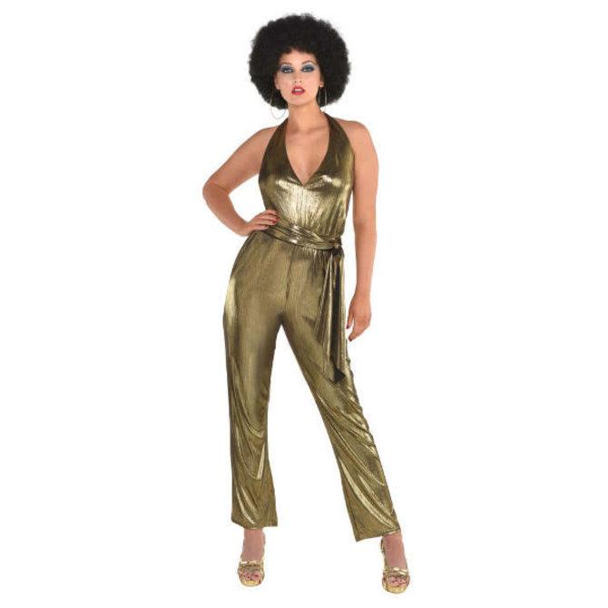 Disco Solid Gold Jumpsuit - Adult Standard