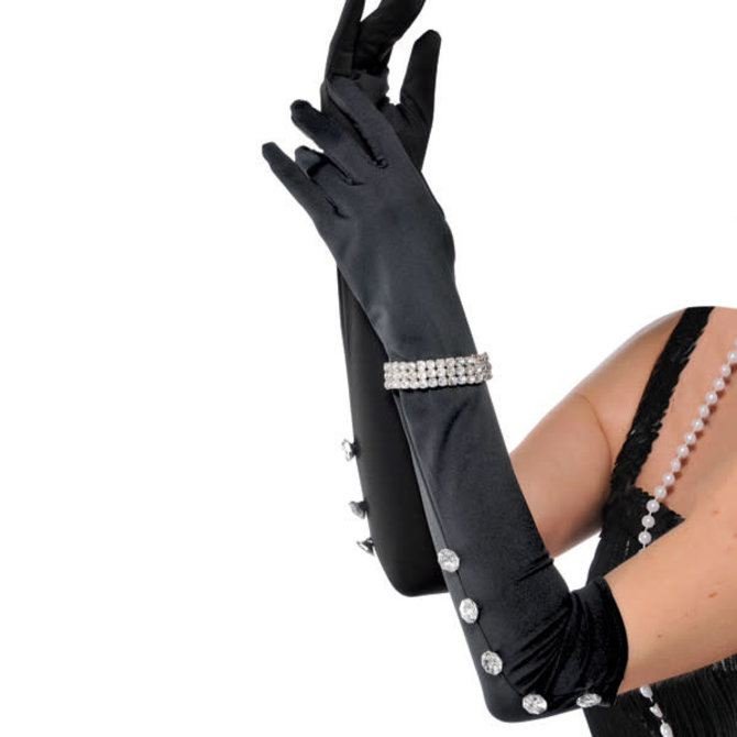 Satin Gloves With Rhinestone Bracelet