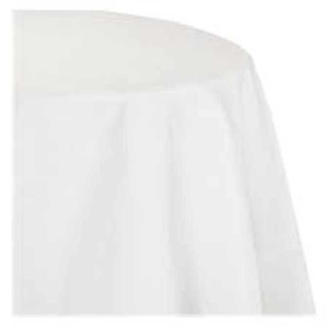 """White Paper Round Tablecover 82"""", Poly Backing"""