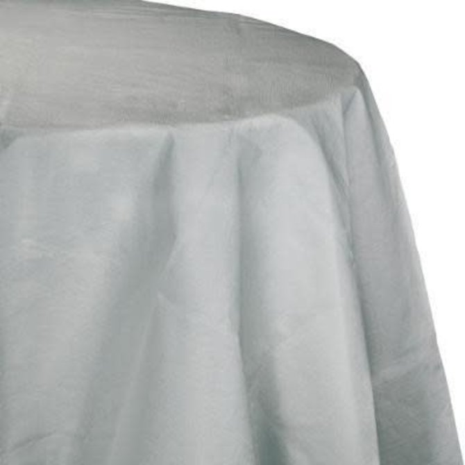 """Shimmering Silver Paper Round Tablecover 82"""", Poly Backing"""