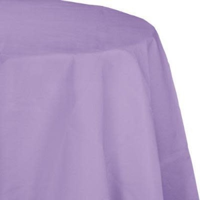 "Luscious Lavender Paper Round Tablecover 82"", Poly Backing"