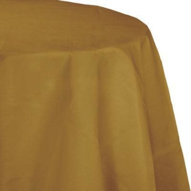 "Glittering Gold Paper Round Tablecover 82"", Poly Backing"