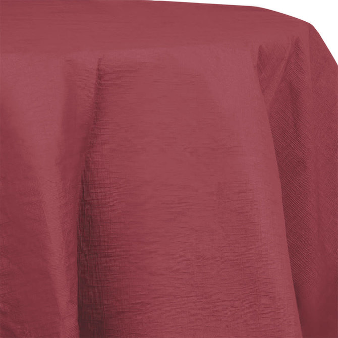"""Burgundy Paper Round Tablecover 82"""", Poly Backing"""