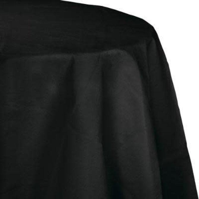 """Black Velvet Paper Round Tablecover 82"""", Poly Backing"""
