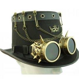 Steampunk Top hat w/Goggles & Access Brn
