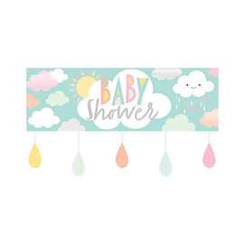 Giant Happy Clouds Baby Shower Banner