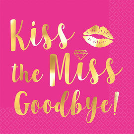 Kiss The Miss Goodbye Beverage Napkins, Hot-Stamped, 16 ct