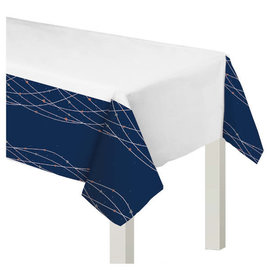 """Navy Bride Plastic Table Cover -54"""" x 102"""""""