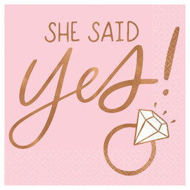 She Said Yes Beverage Napkins - Hot Stamped -16ct