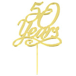 """50 Years"" Cake Topper-Gold Mirrored"