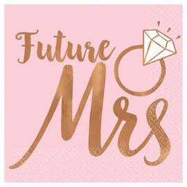 Blush Wedding Beverage Napkins Future Mrs. - Hot Stamped -16ct