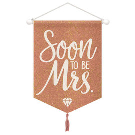 "Blush Wedding Hanging Glitter Canvas Sign -15"" x 11"" w/ tassel, 1 1/4"""