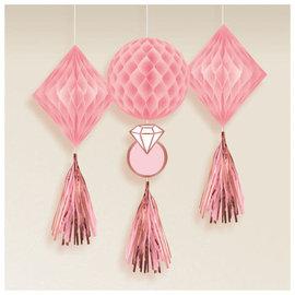 Blush Wedding Honeycomb Decorations -3ct