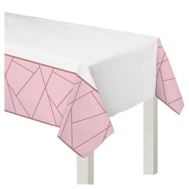 "Blush Wedding Plastic Table Cover- 54"" x 102"""
