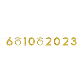 Customizable Number Banner, Gold Glitter