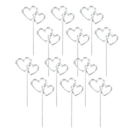 "Heart Picks- 3"" Electroplated Plastic - Silver, 12ct"