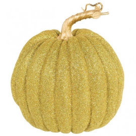 "Medium Gold Glitter Pumpkin 7 3/4"" x 6 1/4"""