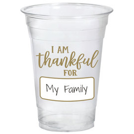 I Am Thankful For... 16oz. Customizable Plastic Tumbler  -20ct
