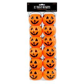 Pumpkin Plastic Treat Pails- 12ct