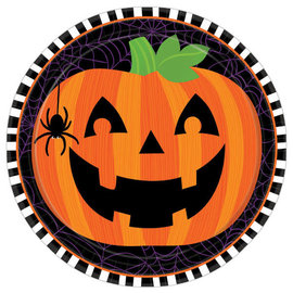 "Pumpkin Flair Round Plates, 9"" -8ct"