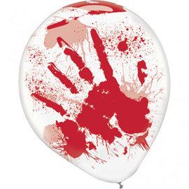 Asylum Printed Latex Balloons - Clear w/Red Blood Splatter 6ct