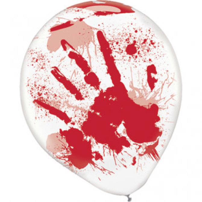 Asylum Printed Latex Balloons - Clear w/Red Blood Splatter 6ct