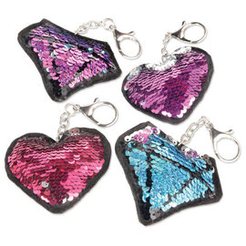 Puffy Sequined Flip Keychain Favor -4ct