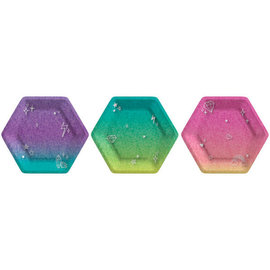 "Sparkle 7"" Prismatic Hexagonal Plate Assorted -8ct"