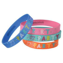 Peppa Pig Confetti Party Rubber Bracelets -4ct