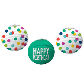 Happy Dots Printed Lanterns -3ct