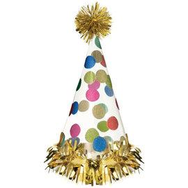 Happy Dots Large Foil Cone Hat