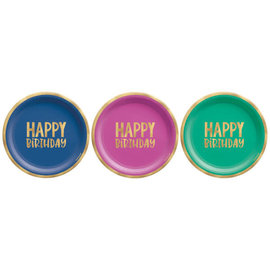 """Happy Dots 7"""" Foil Plate, Assorted -8ct"""