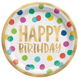 "Happy Dots 10 1/2"" Foil Plate -8ct"